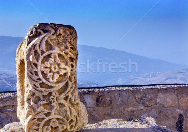 Ancient Crusader Castle Decoration Stone View Arabic Fortress Ke Stock photo © billperry