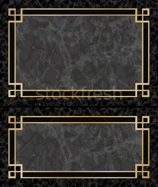 Marmer frames twee zwarte achtergronden goud Stockfoto © Binkski