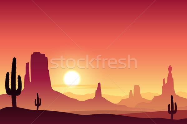 Sivatag tájkép hegyek naplemente napfelkelte homok Stock fotó © Binkski