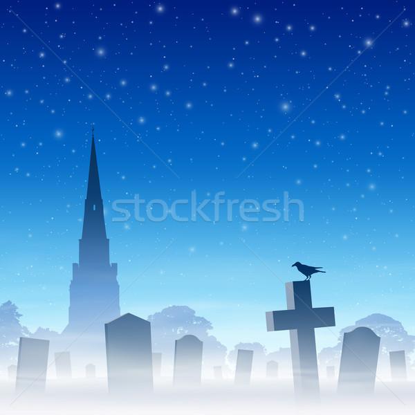 Mglisty cmentarz cmentarz kościoła nieba wektora Zdjęcia stock © Binkski