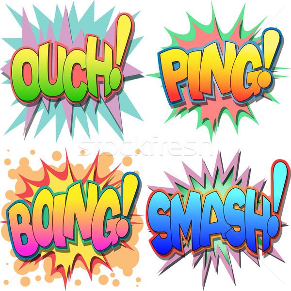 Komiks działania słowa au streszczenie Zdjęcia stock © Binkski