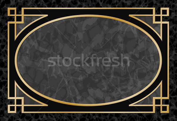 Marmer frame grens zwarte goud vector Stockfoto © Binkski