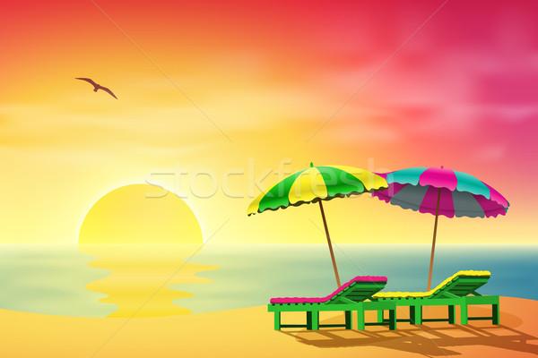 Soleil plage deux coucher du soleil paysage mer Photo stock © Binkski