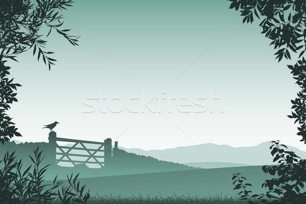 Tájkép farm kapu virágmintás keret levelek Stock fotó © Binkski