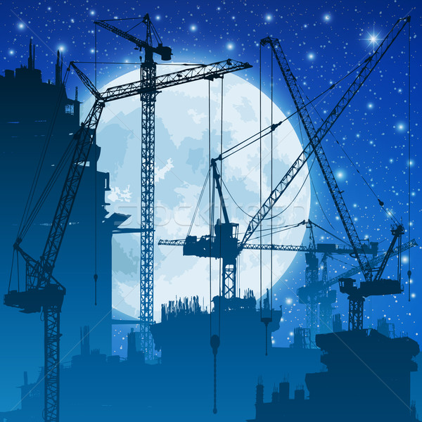 Toren bouwplaats nachtelijke hemel maan hemel bouw Stockfoto © Binkski