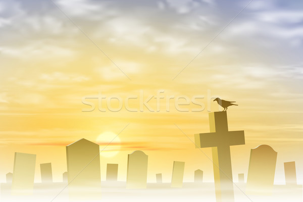 Misty Graveyard Stock photo © Binkski