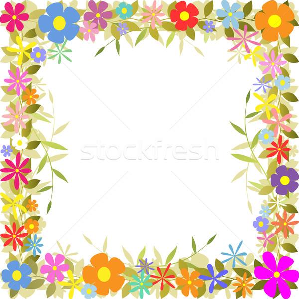 Grens bloemen bladeren blad frame Stockfoto © Binkski
