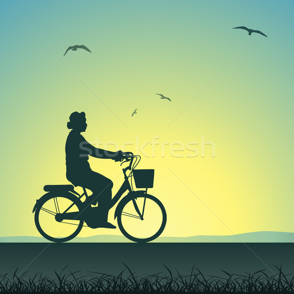 Vélo femme silhouette coucher du soleil paysage Photo stock © Binkski