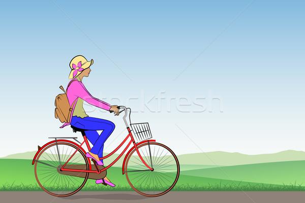 Meisje fiets weide landschap vrouwen Stockfoto © Binkski