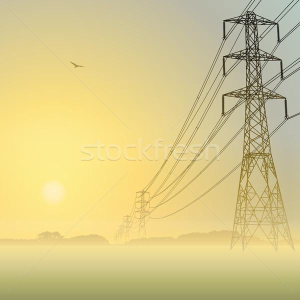 Elektrische mistig zonsopgang zonsondergang industrie Stockfoto © Binkski
