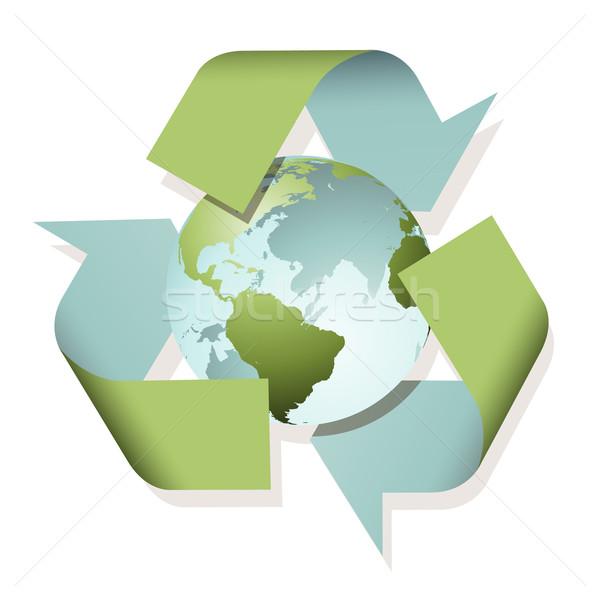 Reciclar signo planeta tierra mundo tierra planeta Foto stock © Binkski