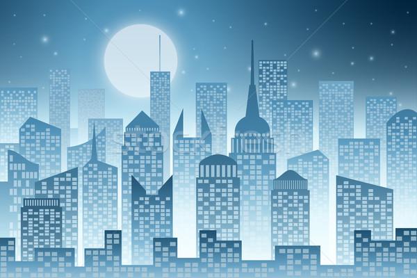 Paisaje urbano rascacielos rascacielos luna ciudad edificios Foto stock © Binkski