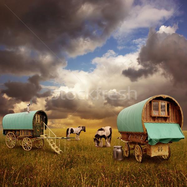 古い 雲 馬 ヴィンテージ 草原 カート ストックフォト © Binkski
