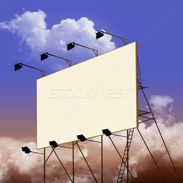 Billboard wolken teken Blauw witte reclame Stockfoto © Binkski