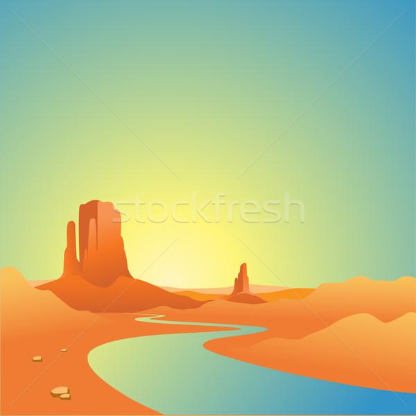 Désert paysage rivière montagnes Photo stock © Binkski