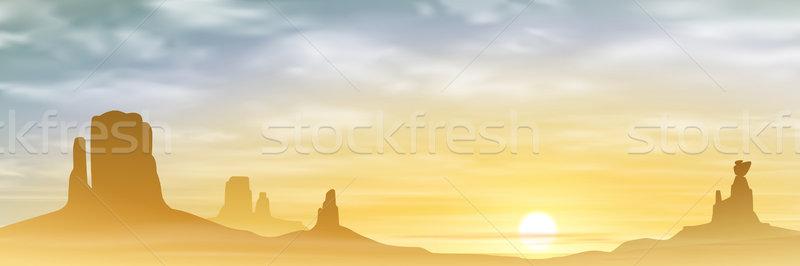 Woestijn landschap bergen zonsondergang zonsopgang vector Stockfoto © Binkski