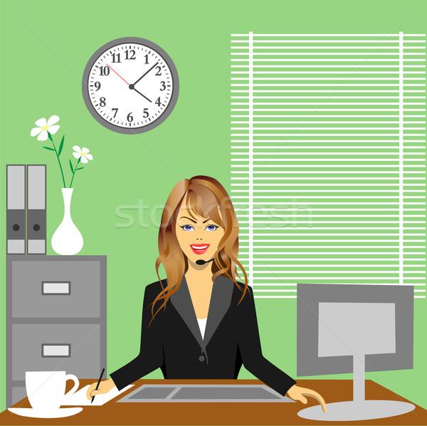 Kantoor vrouw vergadering bureau werk Stockfoto © Binkski