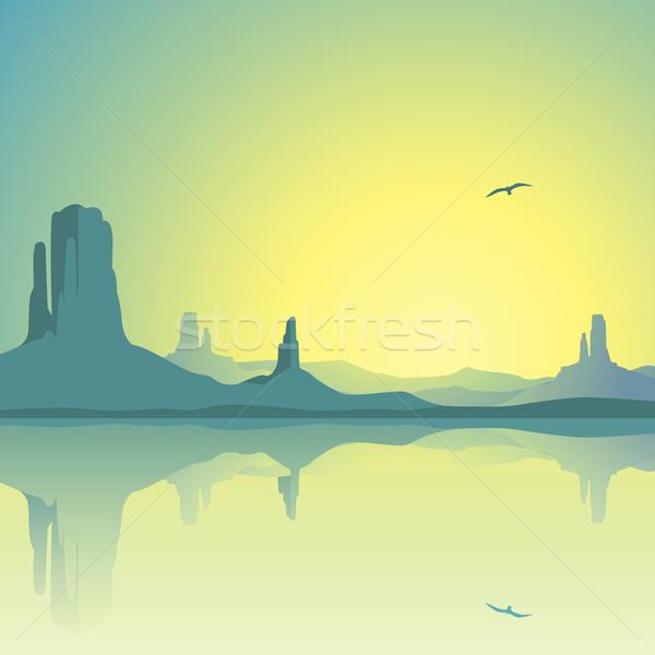 Woestijn landschap bergen reflectie water Stockfoto © Binkski