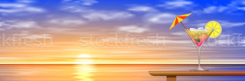 Cocktail boire coucher du soleil sunrise vecteur eps Photo stock © Binkski