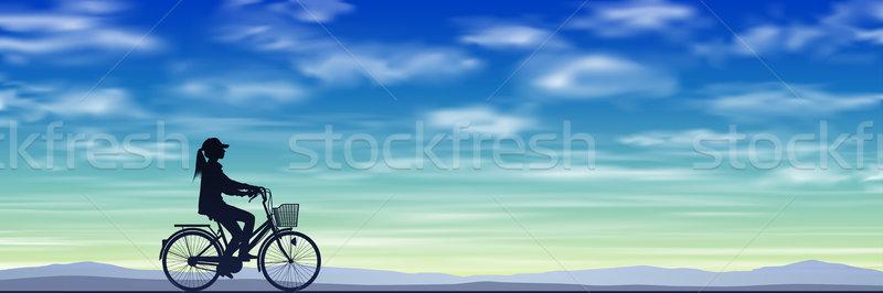 Meisje fiets silhouet blauwe hemel vector eps Stockfoto © Binkski