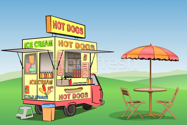 Hot dog gelato mobile stand alimentare strada Foto d'archivio © Binkski