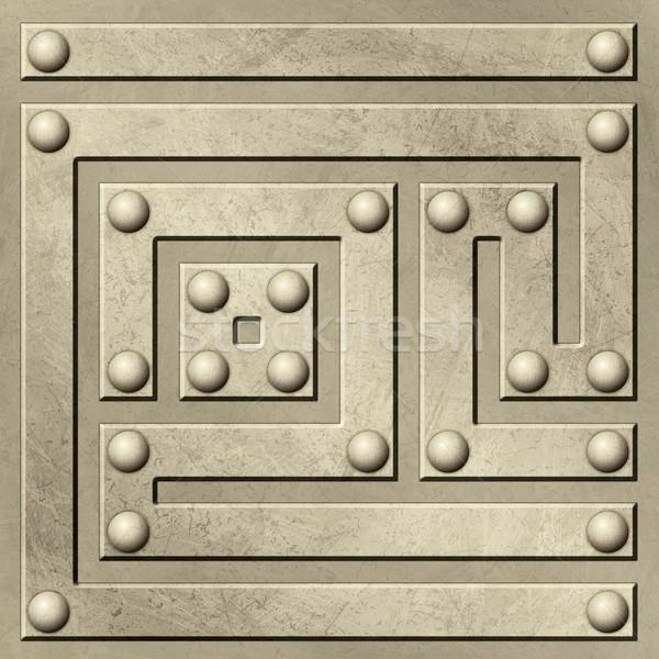 ストックフォト: 金属 · グランジ · 迷路 · パターン · 抽象的な · 鉄