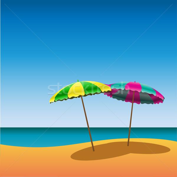 Strand zandstrand twee zon zomer oceaan Stockfoto © Binkski