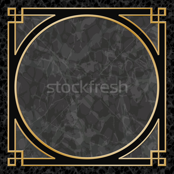 Marbre cadre frontière noir or vecteur Photo stock © Binkski