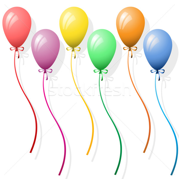 Ballonnen zes partij witte gelukkig lint Stockfoto © Binkski