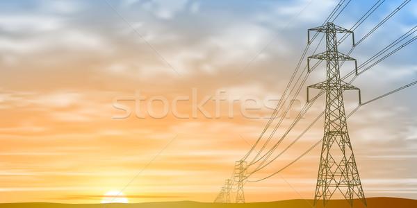 Elektrische zonsopgang zonsondergang vector eps Stockfoto © Binkski