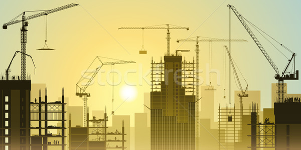 Construction Site with Tower Cranes Stock photo © Binkski