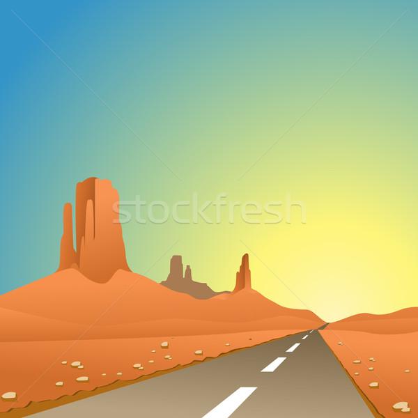 Deserto panorama strada autostrada sabbia Foto d'archivio © Binkski