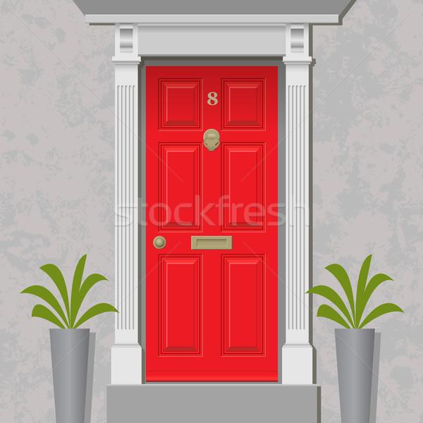 Rood deur oude stijl voordeur messing Stockfoto © Binkski