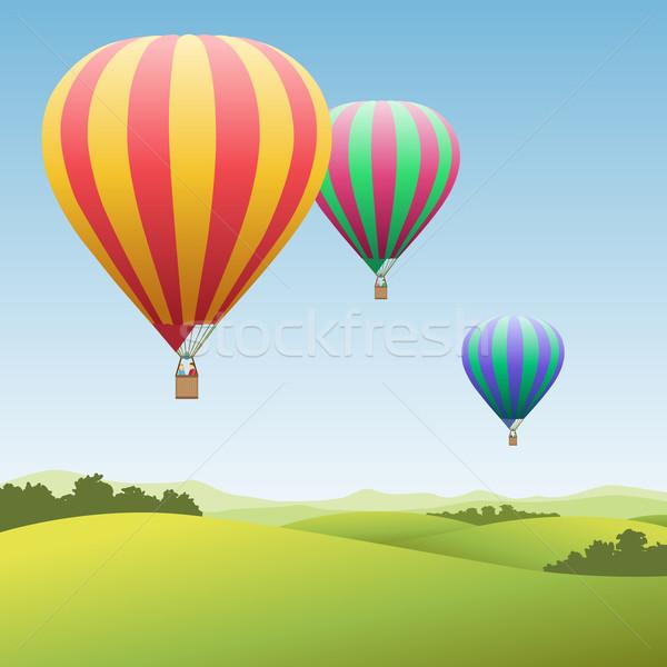Hot lucht ballonnen drie kleurrijk landschap Stockfoto © Binkski