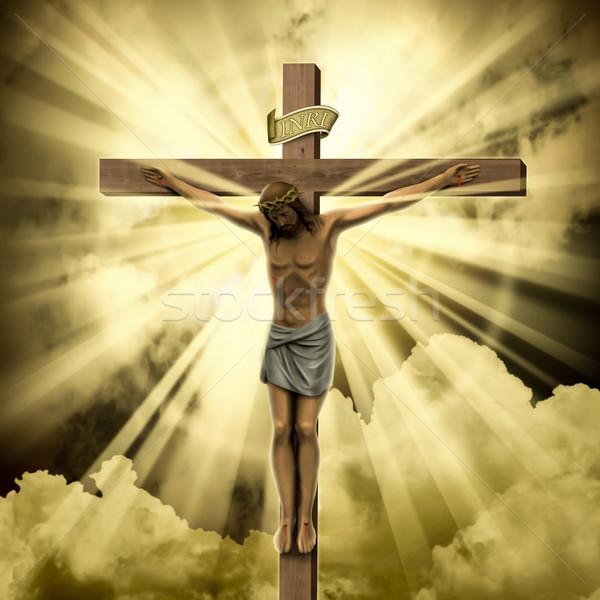 Jesus christ kruis wolken zonsondergang licht Stockfoto © Binkski