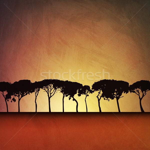 Bomen artistiek vintage grunge illustratie landschap Stockfoto © Binkski