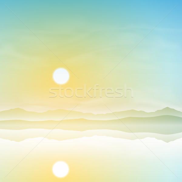 Eenvoudige landschap zonsopgang zonsondergang reflectie water Stockfoto © Binkski