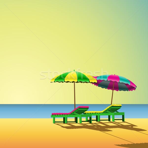 Strand twee zee zand stoel bed Stockfoto © Binkski