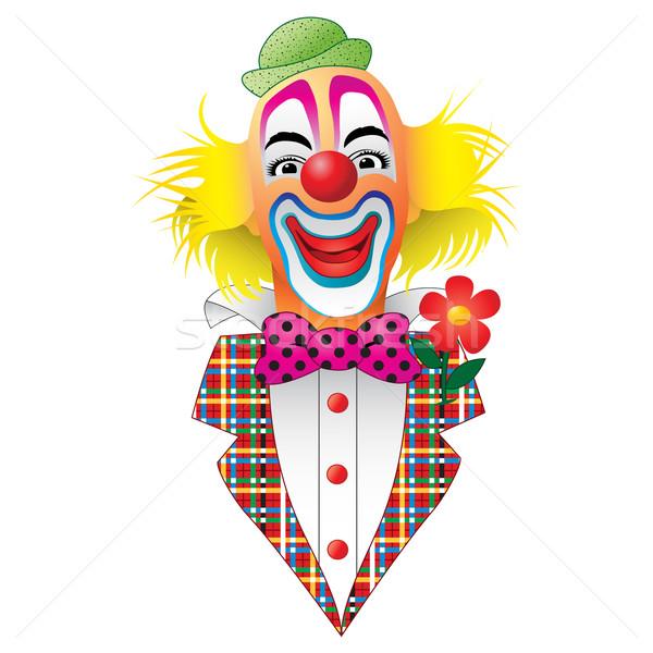 サーカス ピエロ 花 笑顔 面白い 喜び ストックフォト © Binkski