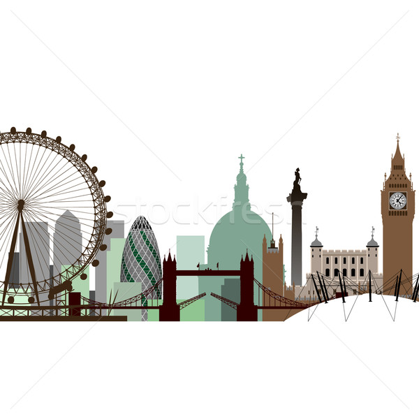 Londres vecteur cityscape Skyline silhouette tour Photo stock © Binkski
