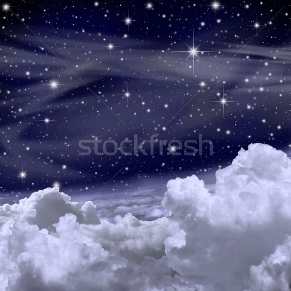Hemel sterren wolken achtergrond nacht Stockfoto © Binkski