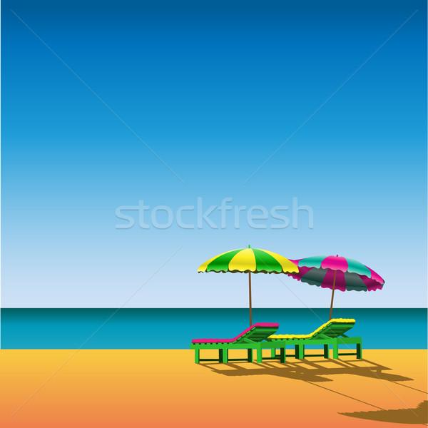 Strand twee zee zomer oceaan zand Stockfoto © Binkski