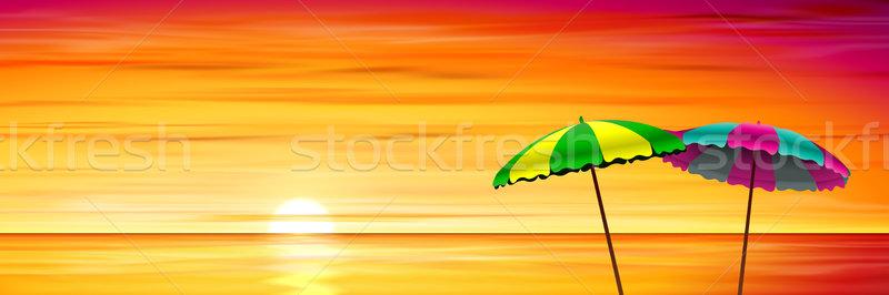 Dos playa rojo puesta de sol amanecer vector Foto stock © Binkski