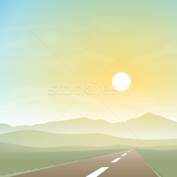 Misty paysage route autoroute coucher du soleil sunrise Photo stock © Binkski