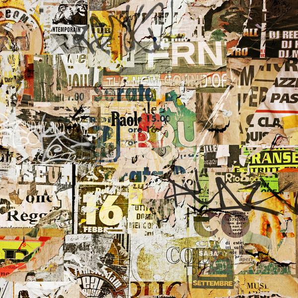 Grunge Plakat alten zerrissen Plakate Papier Stock foto © Binkski