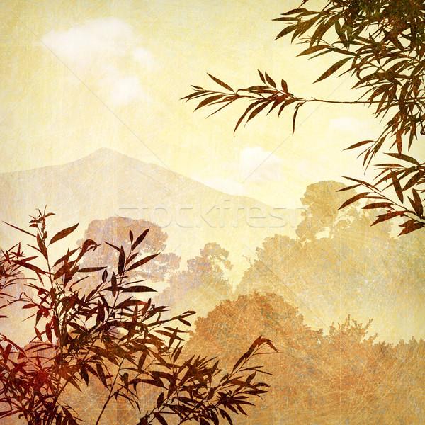Grunge landschap artistiek rommelig bomen achtergrond Stockfoto © Binkski