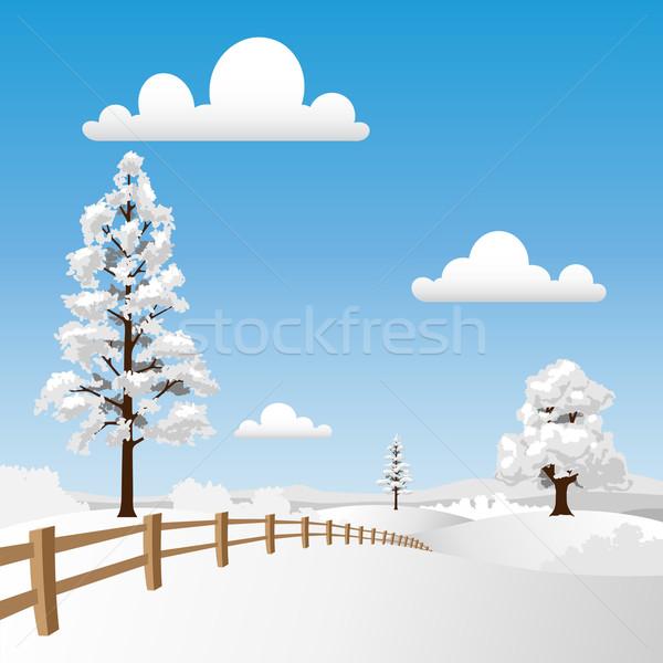 Neige paysage clôture arbres Photo stock © Binkski