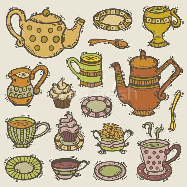 いたずら書き 茶 セット 実例 手描き ティーカップ ストックフォト © Bisams