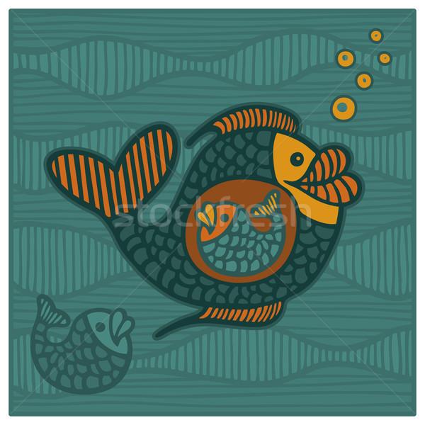 ビッグ 魚 実例 小 海 海 ストックフォト © Bisams