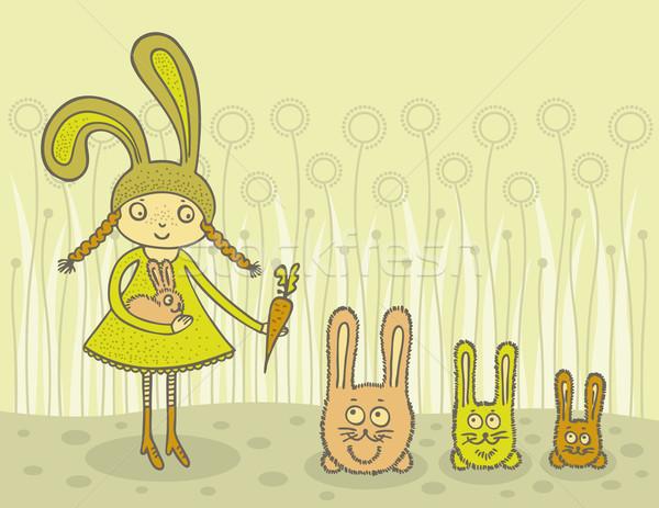 少女 かわいい ウサギ 衣装 ニンジン ストックフォト © Bisams